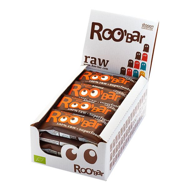 Roo´bar Raw Energy Bar Cacao Nibs And Almonds 50gr X 16