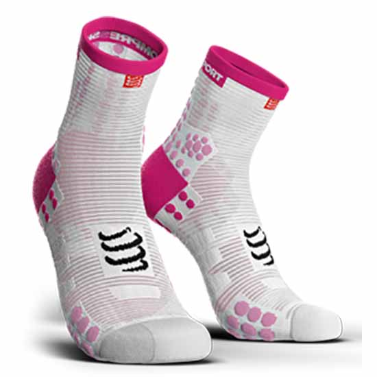 compressport-racing-socks-v3-0-run-lo-eu-42-44-white-pink