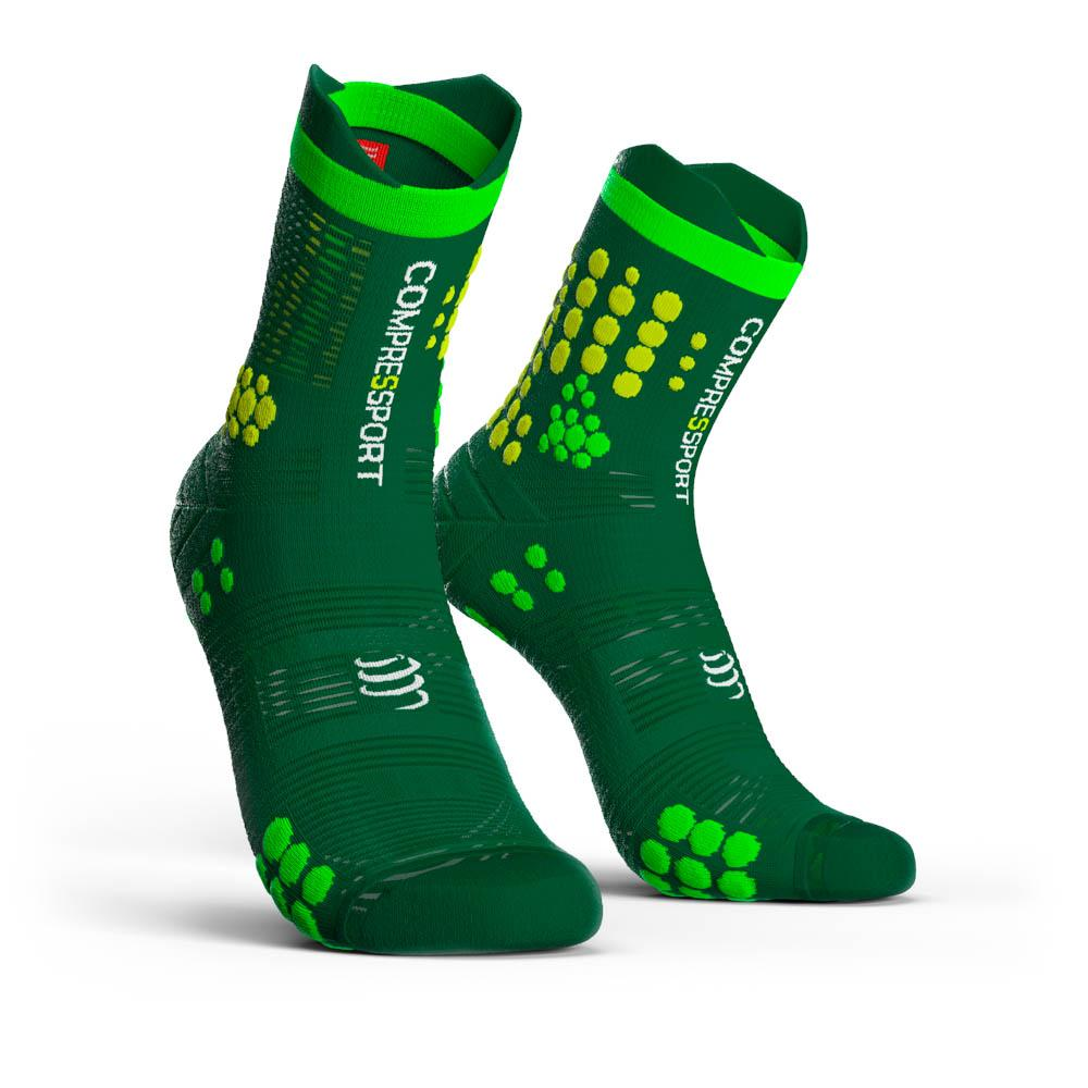 compressport-racing-socks-v3-0-trail-eu-35-38-green-yellow