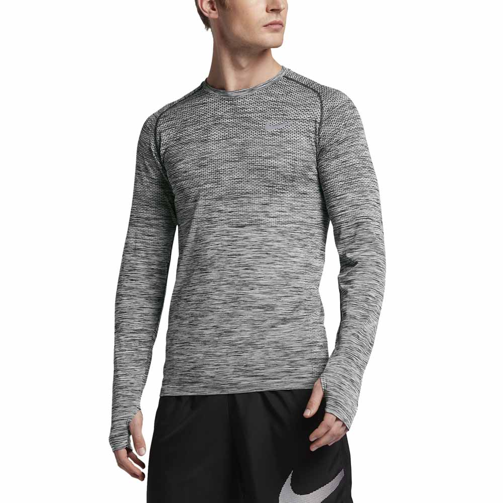 nike dri fit knit l s top grey buy and offers on runnerinn. Black Bedroom Furniture Sets. Home Design Ideas