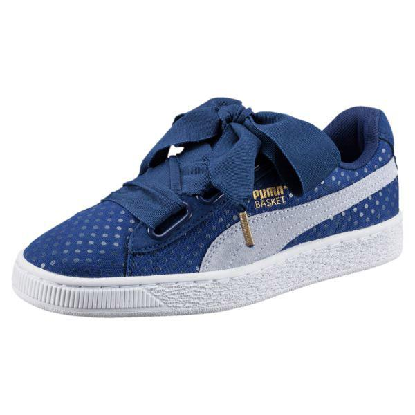 puma heart basket denim