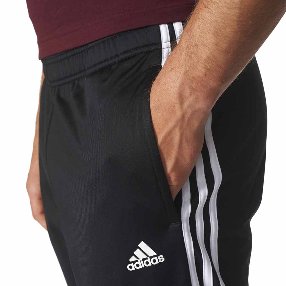 adidas Essentials 3 Stripes Tapered Tricot Pants Black